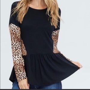 Leopard Peplum Style Top Size XL